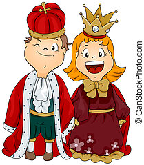 King and Queen - Illustration of a Boy and Girl Dressed as a...