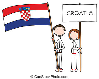 Illustration of a boy and girl holding Croatian flag and title