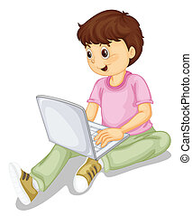 a boy and laptop