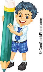 a boy and pencil