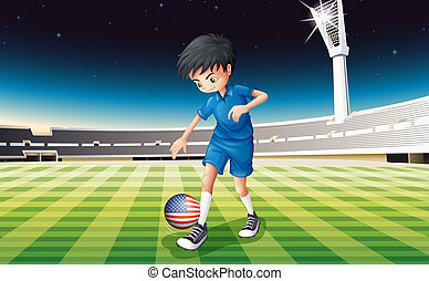 Illustration of a boy at the field using the ball with the flag of the United States