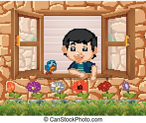 a boy at the window with birds