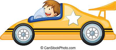 a boy driving a car