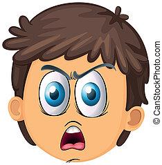 a boy face - illustration of a boy face on a white...