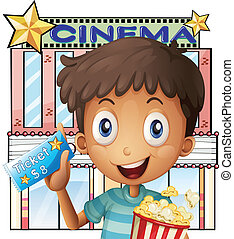 Illustration of a boy holding a pail of popcorn and a ticket outside the cinema on a white background