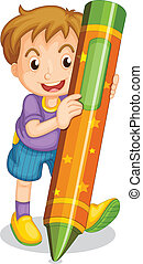 a boy holding pencil