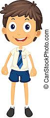 a boy in school uniform