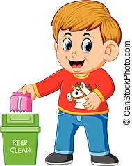 illustration of A boy keep clean environment by trush in rubbish bin