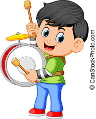 A boy playing big drums