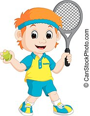 Boy Playing Lawn Tennis