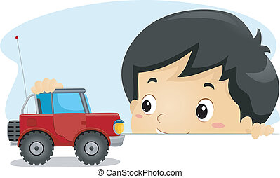Toy Truck - Illustration of a Boy Playing with a Toy Truck