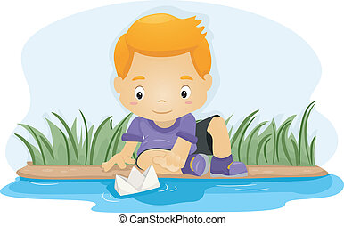 Paper Boat - Illustration of a Boy Pushing a Paper Boat Down...