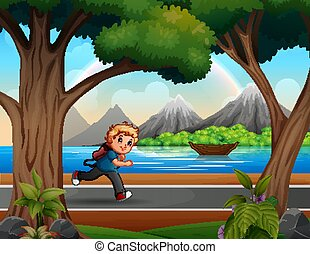 Illustration of a boy running on the road