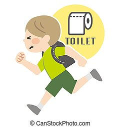 Illustration of a boy running with patience in the toilet