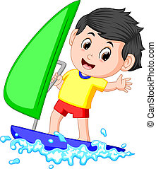 A boy sailing on the sea