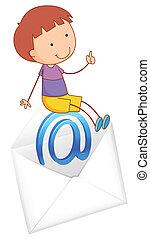 a boy sitting on mail envelop