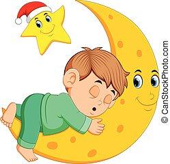 A boy sleep on the moon