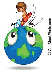 a boy surfing on earth globe