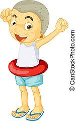 a boy wearing floter