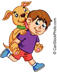 a boy with a purple cloth and red pant is pickaback his cute dog