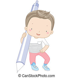 illustration of a boy with automatic pencil