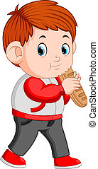 A boy with big loaf of bread