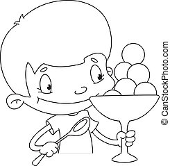 boy with ice cream outlined