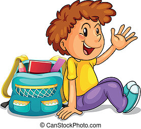 a boy with school bag