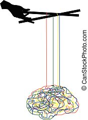illustration of a brain being manipulated