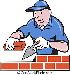 illustration of a bricklayer mason at work done in cartoon style on isolated background