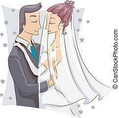Bride and Groom - Illustration of a Bride and Groom About to...