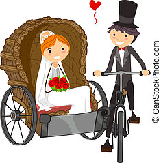 Illustration of a Bride in a Wedding Carriage