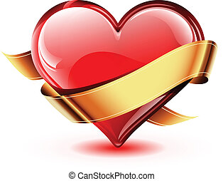 Illustration of a bright and glossy vector heart with a golden ribbon
