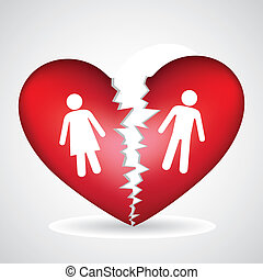 illustration of a broken heart, isolated on white background, vector illustration