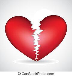 broken heart - illustration of a broken heart, isolated on...