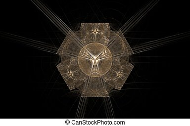 illustration of a brown geometric figure in the style of an ancient Egyptian symbol on a black background for design and graphics