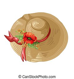 Illustration of a brown hat with poppy