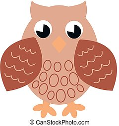 a brown single owl - illustration of a brown single owl