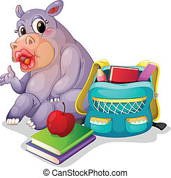 a buffalo with school bag