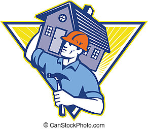 Illustration of a builder construction worker withhammer carrying house on shoulders set inside triangle  done in retro style.