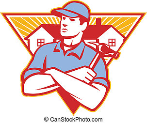 Illustration of a builder construction worker with hammer arms crossed with house in background set inside triangle done in retro style.