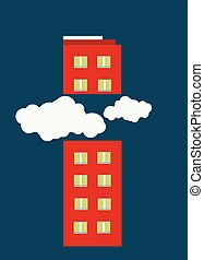 illustration of a building cut in half by clouds