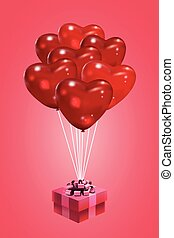 Illustration of a bunch of realistic looking heart shaped pink balloons.
