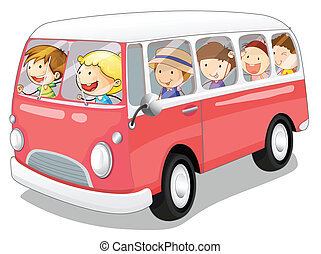 bus and kids - illustration of a bus and kids in a white...