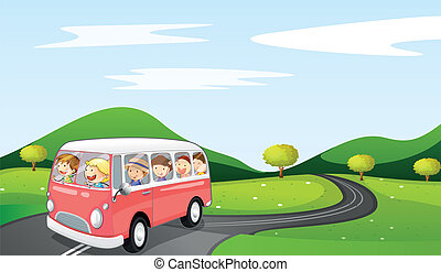bus and road - illustration of a bus and road in a beautiful...