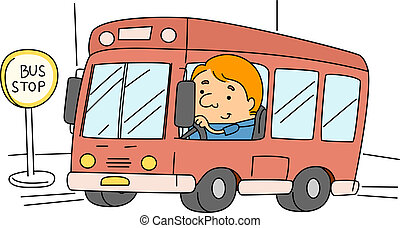 Illustration of a Bus Driver at Work
