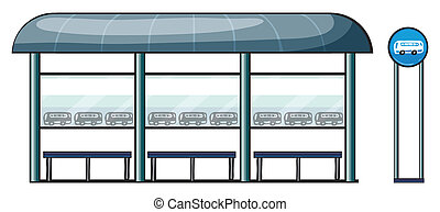 a bus stop - illustration of a bus stop on a white...
