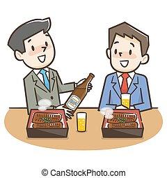 Illustration of a businessman eating an eel