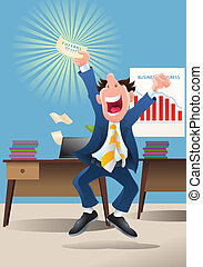 winning lottery - illustration of a businessman hold winning...