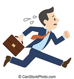 Illustration of a businessman running in a hurry